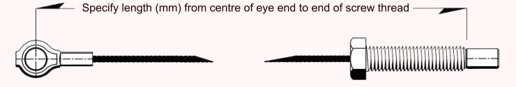 Specify length (mm) from centre of eye end to end of screw thread